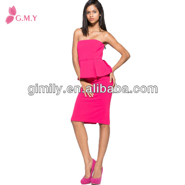 latest design women Mei red sexy peplum dress