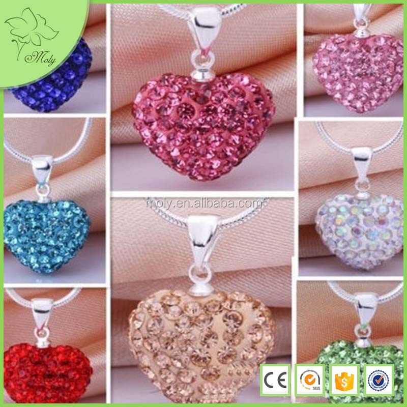 Heart sharp shamballa beads 12mm*14mm clay fully-jewelled bell with snake chain necklace