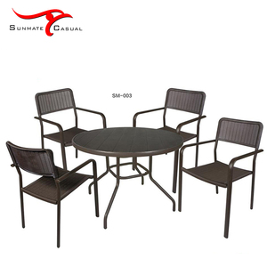 Cheap Plastic Injection Rattan Outdoor Garden Furniture Round Restaurant Bistro Patio Balcony Dining Table and Chair Set