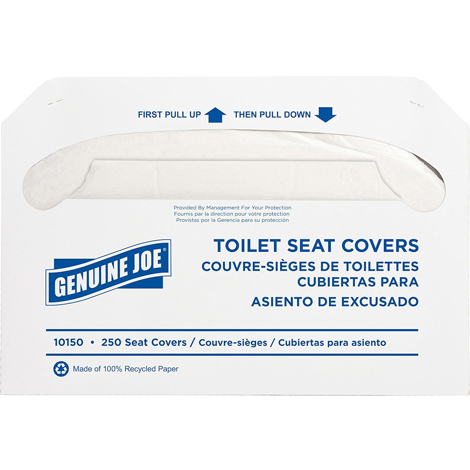 Genuine Joe 10150 Toilet Seat Covers,250 Toilet Seat Covers, 10 PK/CT,White
