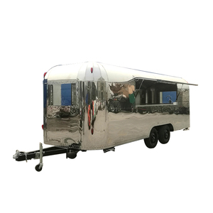 Stainless steel large food van mobile food truck trailer CE approved