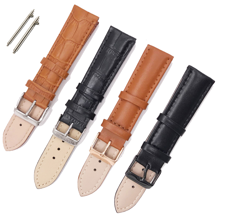 Low MOQ High Quality Stainless Steel Clasp Custom OEM Western Handmade Genuine Leather Watch Band Strap