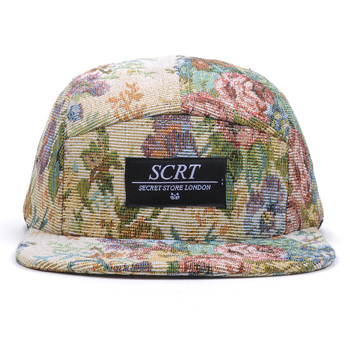 9a082885ba96b Floral Print Cheap Leather Strap Custom 5 Panel Hats For Sale - Buy ...
