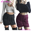 Hot Sexy European Style Suede Wrapped Hip Double Pocket Fancy Mini Skirt