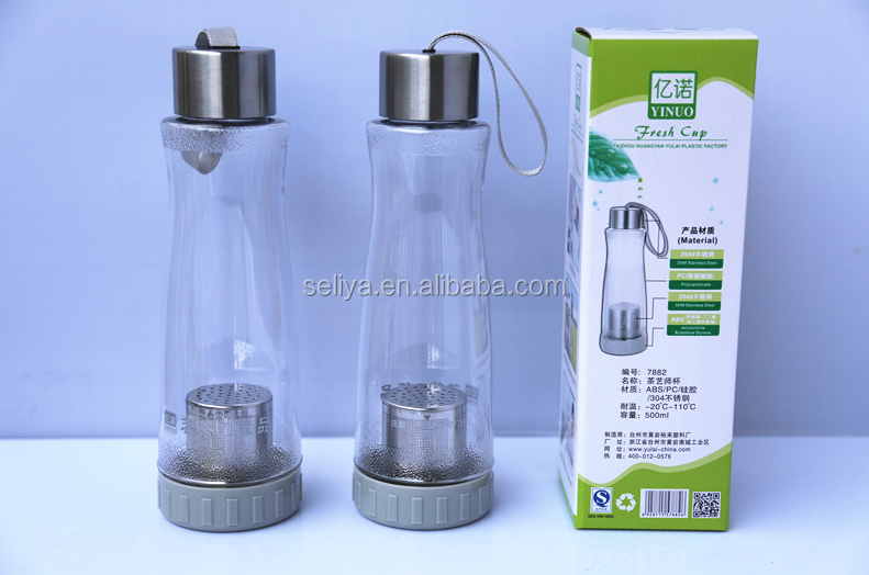 BPA free Plastic tea infus bottle with SGS Approved 7882