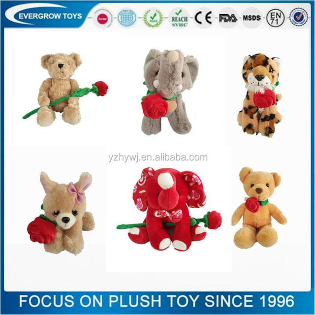 Custom Design Rose Flower Animal Shaped Valentine Plush Toy
