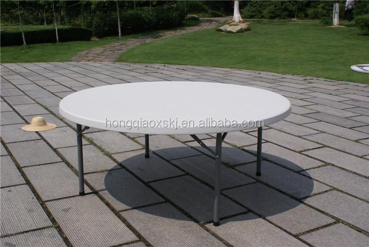 Verkoop Witte Ronde Eettafel.160cm Diameter Hdpe Slagvorm Witte Ronde Tafel 8 Zetels Opvouwbare