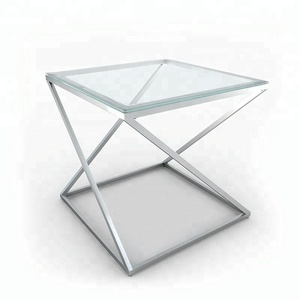 Knock down movable silver 8mm glass coffee table modern