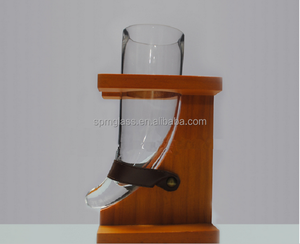 16 oz horn shaped glass viking drinking horn for beer with rustic wooden stand