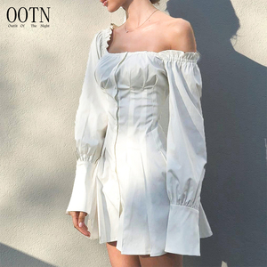 OOTN 2019 Vestido Button Down Mini Short Autumn Winter Party Dress Women Square Collar Long Sleeve Dress White Shirt Tunic Dress