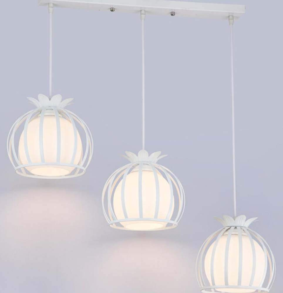 Iron Hollow Pendant Lamp Round Petal Wind Bell Chandelier 3 Head Restaurant/clothing Store Hanging Lamp Deco Lights(without Bulb) (Color : White, Size : Rectangular)