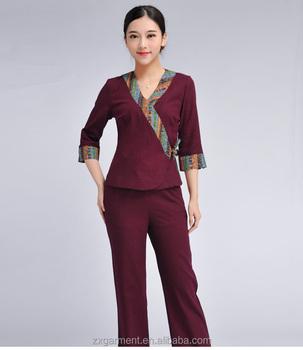 Professional customized fashion spa uniforms beauty salon for Spa uniform alibaba