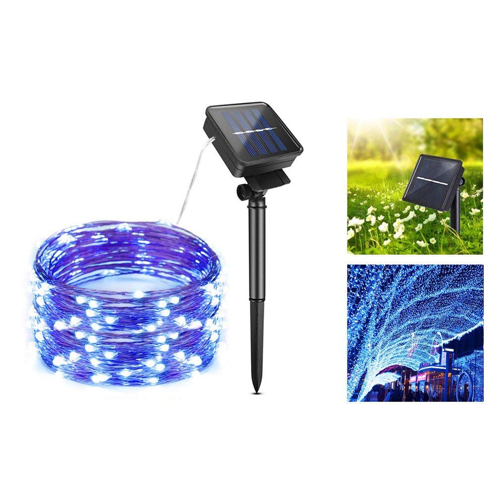 AIMENGTE LED Fairy Lights Outdoor Solar, LED Solar String Lights, 100 LEDs/200 LEDs 33ft/66ft Copper Wire Christmas Decor LED Starry String Lamp Waterproof Holiday Lights. (66ft /200 LEDs, Blue)