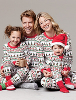 100% cotton christmas family clothing set wholesale tree pattern fall garment baby girl pajama set