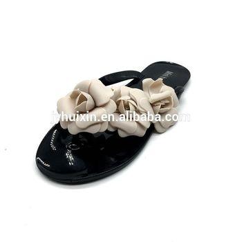 Beautiful Style Latest Design Fashion Big Flower Women Shoes Flat Heel  Plain Jelly Slippers 580728c9987e
