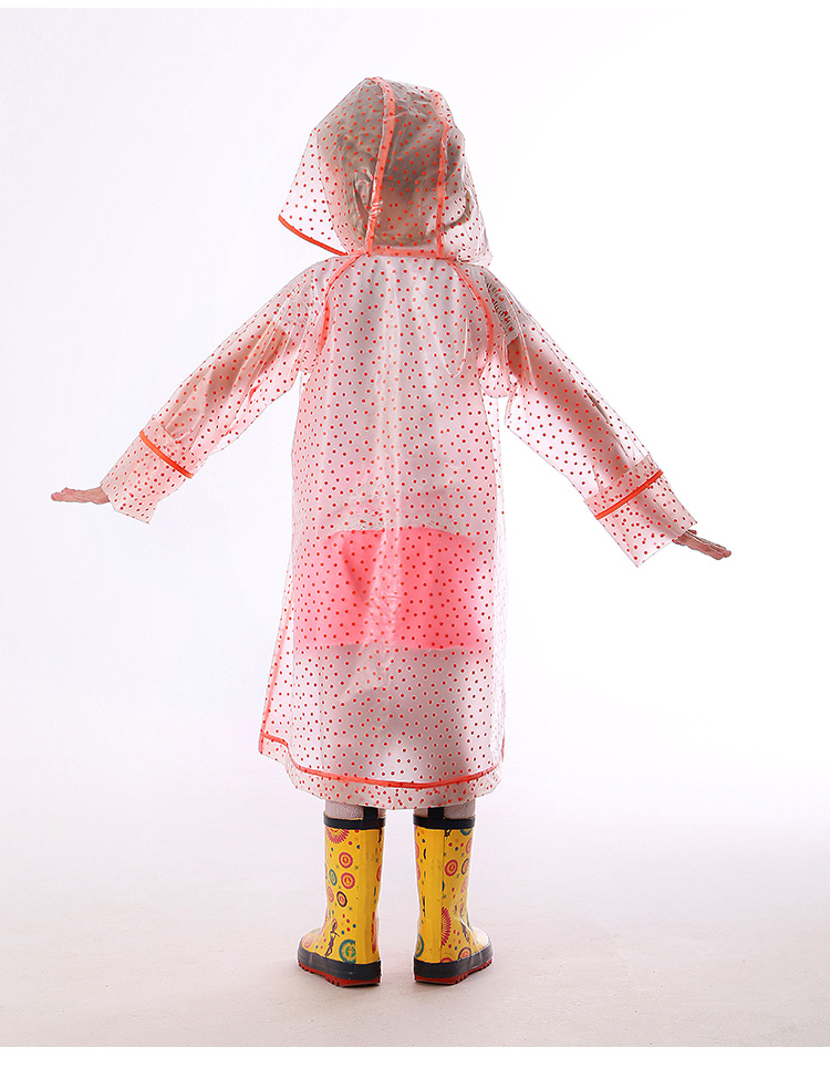 Lovely Breathable Polka Dots Transparent TPU Waterproof Pattern Kids Raincoat