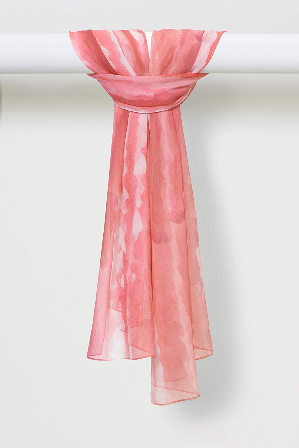 Two-Color Light Sprays Pure Silk Chiffon Scarf in Pink