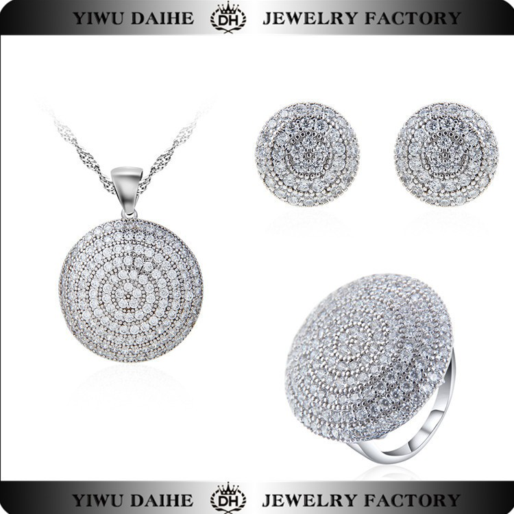 china wholesale round zircon 925 silver jewelry set for girls