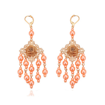 28869 New Indian Style Pearl Long Chain Luxury Jhumka Heavy Drop