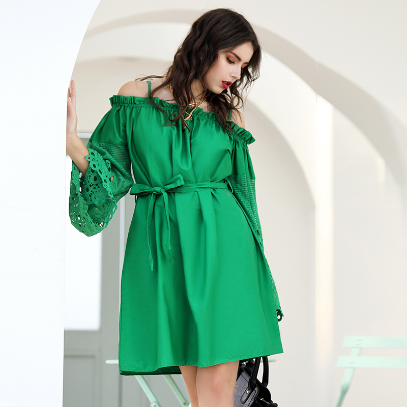 Wholesale women green off shoulder summer dress