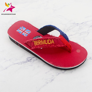 flat summer Open Toe cloth flip flop mens fashion red Flag 2018