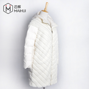 New Hot Sale Polyester And Faux Fur Combination White Down Jacket Padded Coat