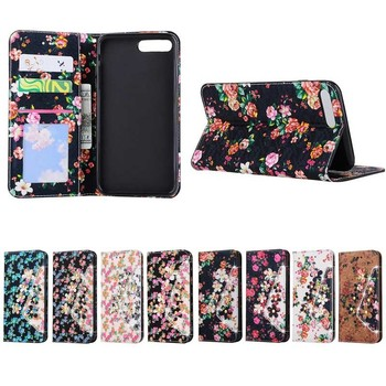 Fashion Multi Flowers pattern Flip Leather Case for iPhone 7 8 Plus