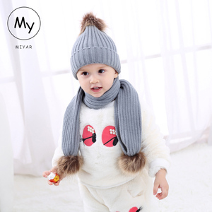 cc783f3d9df8e MY Miyar Baby Knitted Caps for Infant Boys Girls Warmer Winter Baby Hat And  Scarf Set Acrylic Lovely Baby Hat Set