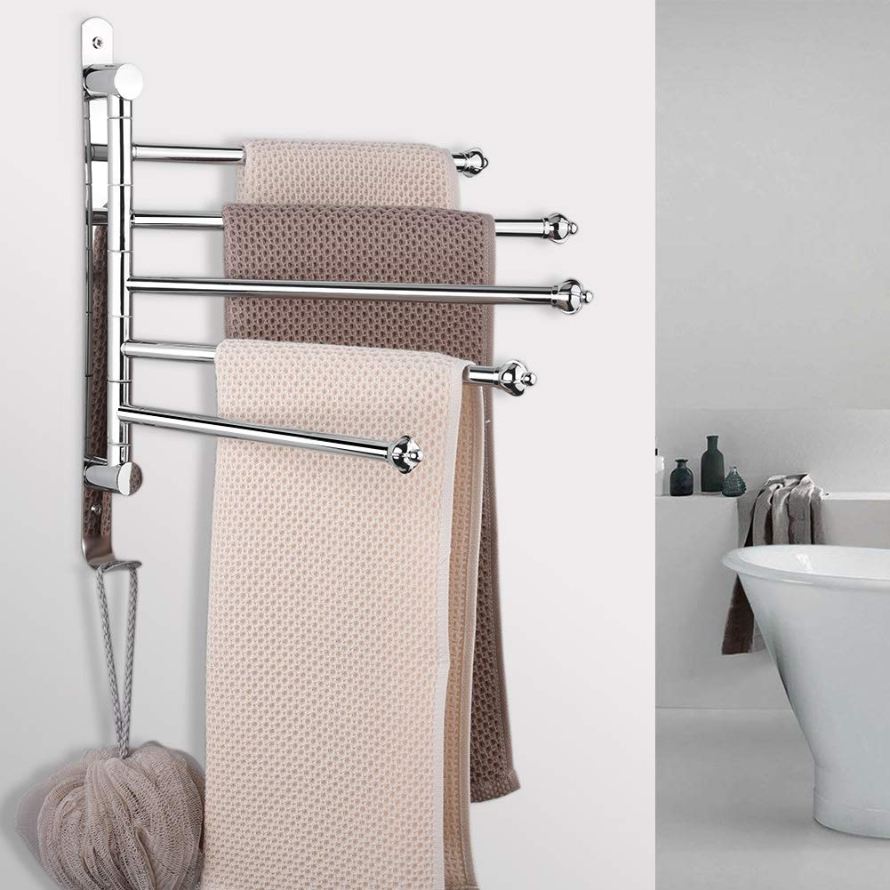 Lisuu No Need Drilling Swing Out Towel Bar Towel Rack,5-Bar Bathroom Kitchen Stainless Steel Mounted Towel Holder with Hook