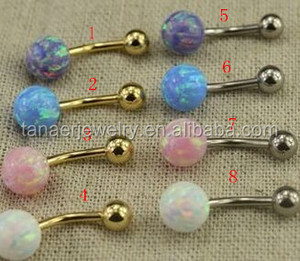Fashion Surgical steel 14Gauge Opal Double Gemmed Belly Ring Opal Body Jewelry Gold Belly Button Rings Navel Piercing