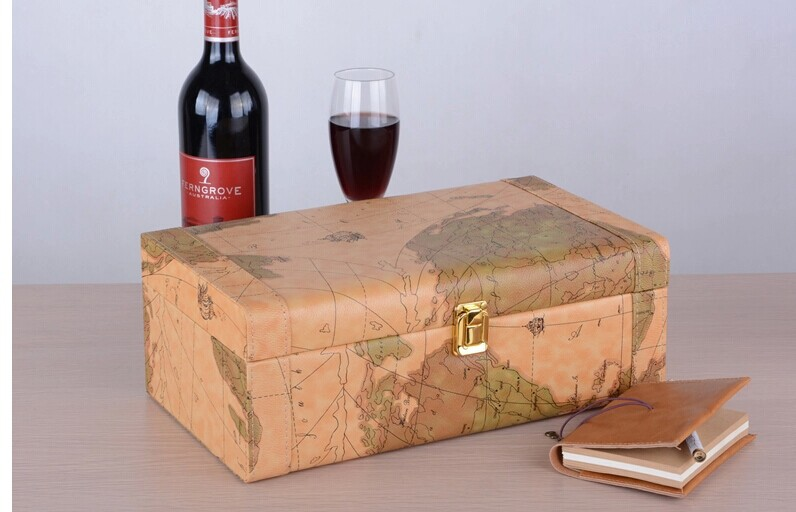 Hand crafted wine gift box features elegant old world map design hand crafted wine gift box features elegant old world map design gumiabroncs Image collections