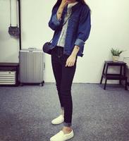 MS81794N 2016 spring korean Casual dress lapel long sleeve long denim shirt