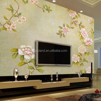 England Phong Cách Floral 3d Hình Nền/wall Mural Cho Drawing Room Trang Trí  - Buy 3d Tường Mural/wallpaper/phủ Tường,Chất Lượng Cao Hand Painted Tường