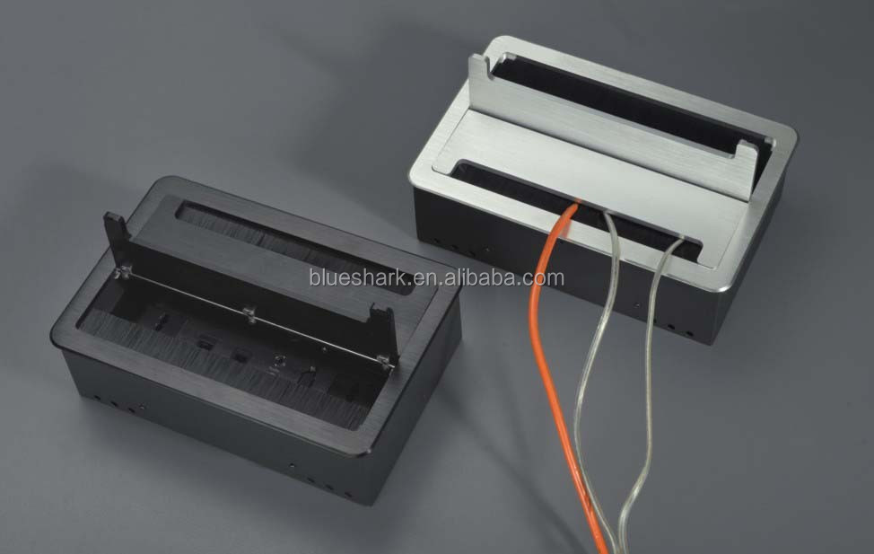 Flip Lid Brush Desktop Socket Interconnect Box For Conference