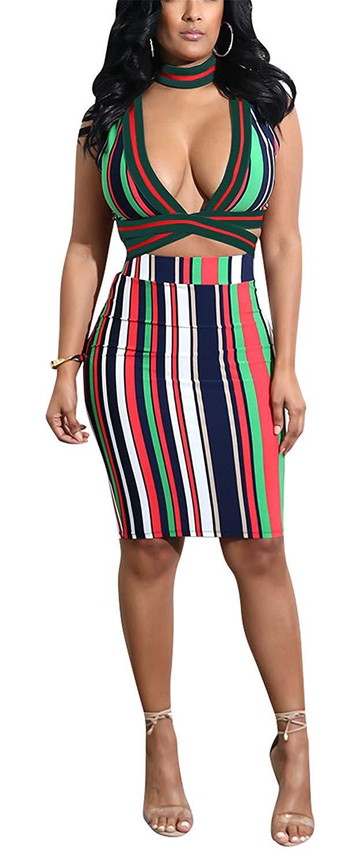 b793d0b0398e8 Get Quotations · Didala Womens Sexy 2 Piece Set V-Neck Stripe Printed Crop  Top Package Hip Dress