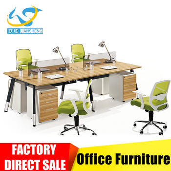 Office Furniture Aluminium Partitions Profile Workstation 4 Seater Modular  Office Workstations