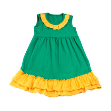 2017 new style 1-6 years old angel dresses for kids sleeveless ruffles stripe for baby girls boutique fashion sell girls dress