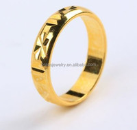 Bulk Wholesale High Quality Fashion Simple Design Solid Gold Carved Finger Ring for Men