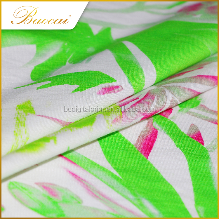 Skin-friendly flower Printing knit wear jersey fabric organic cotton