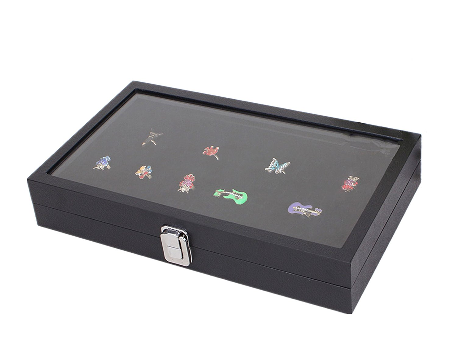 72 Slot Jewelry Display Case Glass Top Ring Insert Display Showcase Ring Tray, Black