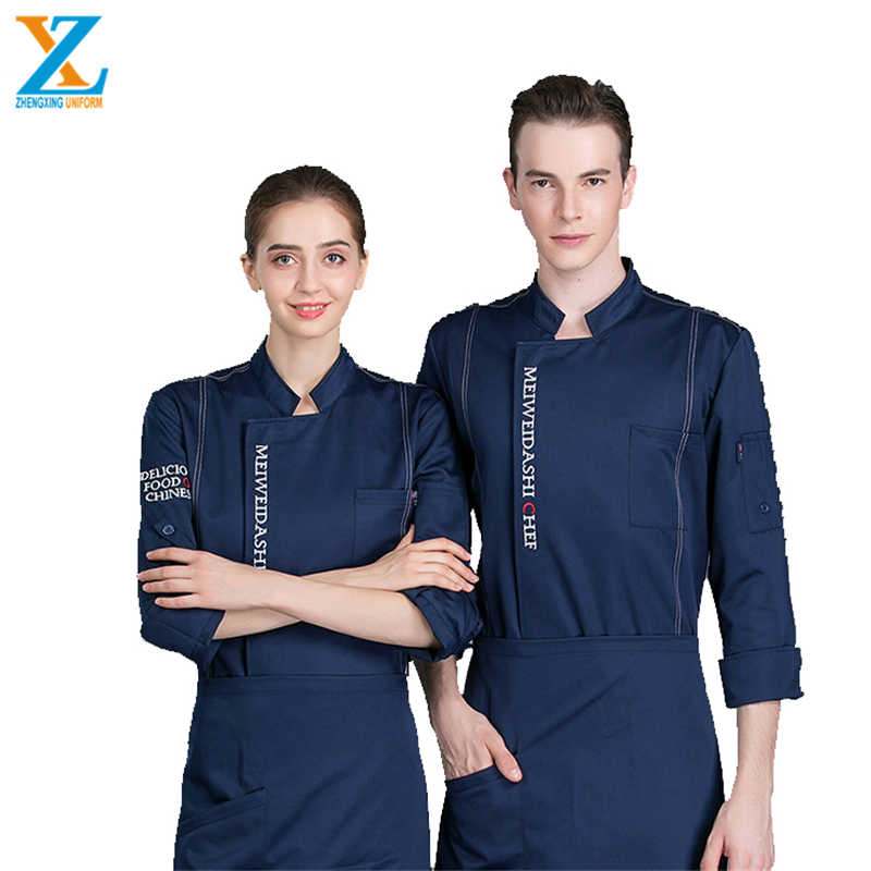 Poly Cotton Fabric Hidden Placket Long Sleeves Chef Uniform for Kitchen Cooking