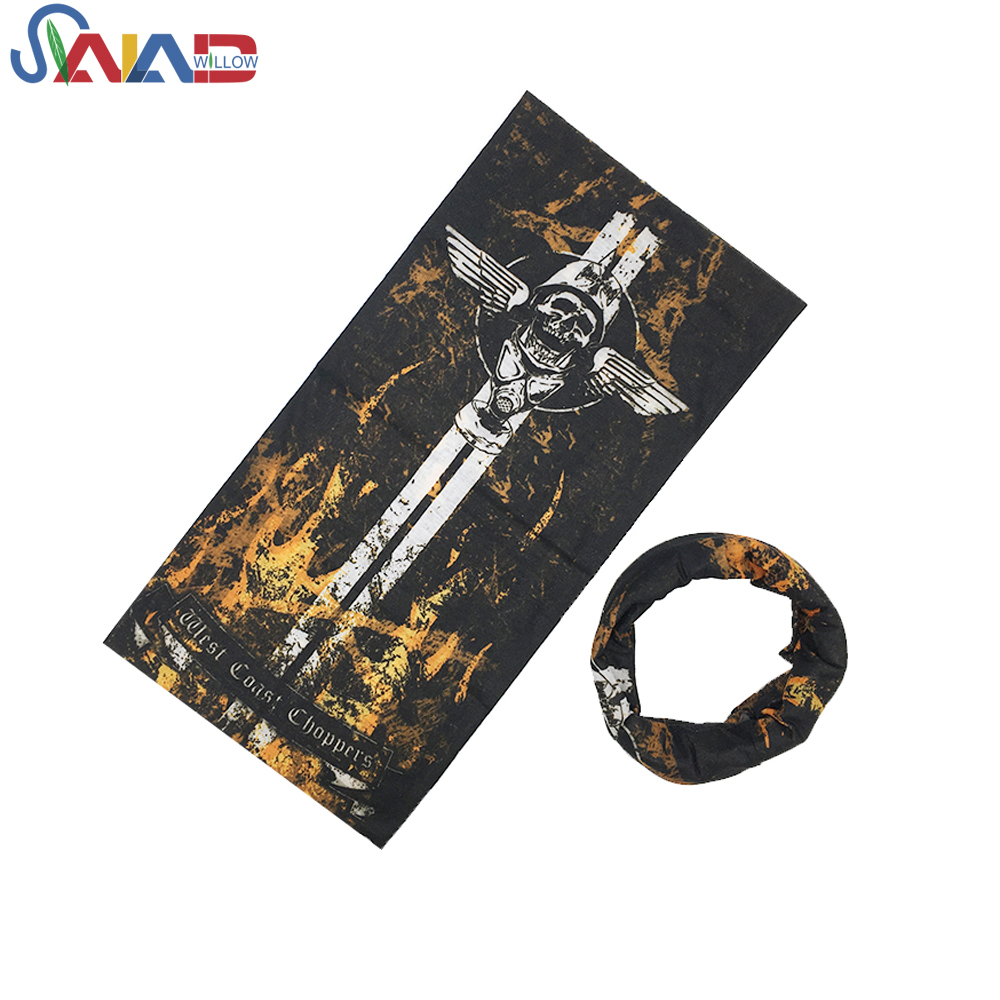 Multifunctional <strong>black</strong> skull outdoor custom scarf printing flag seamless <strong>bandana</strong>