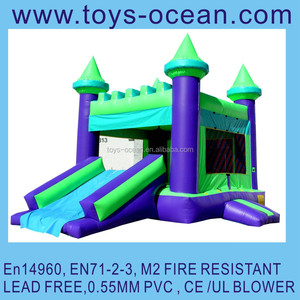 green purple indoor inflatable slide bouncer jumping castle house