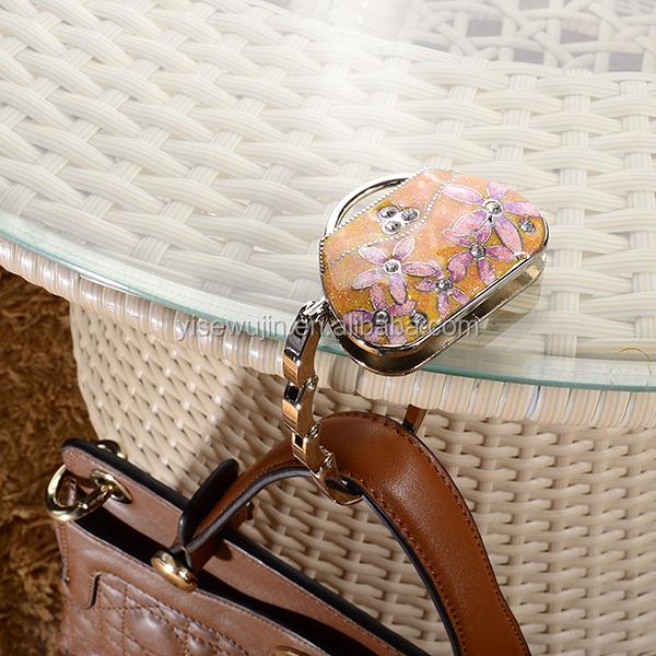 Ladies Flower Custom Bag Parts And Accessories Bag Purse Handbag Hanger  Holder Hook For Top Table