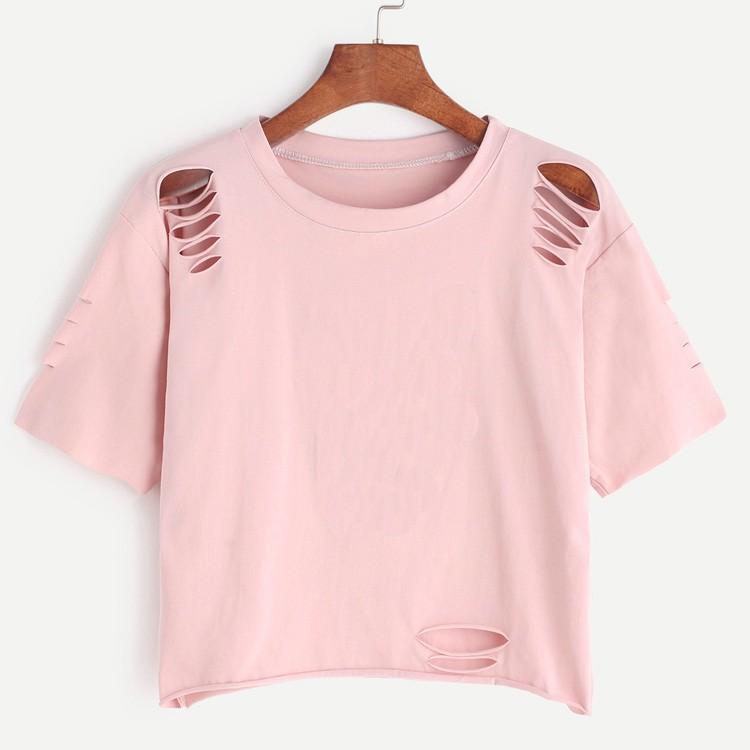 2017 fashion hot sale cotton custom pink print ripped for Ladies custom t shirts