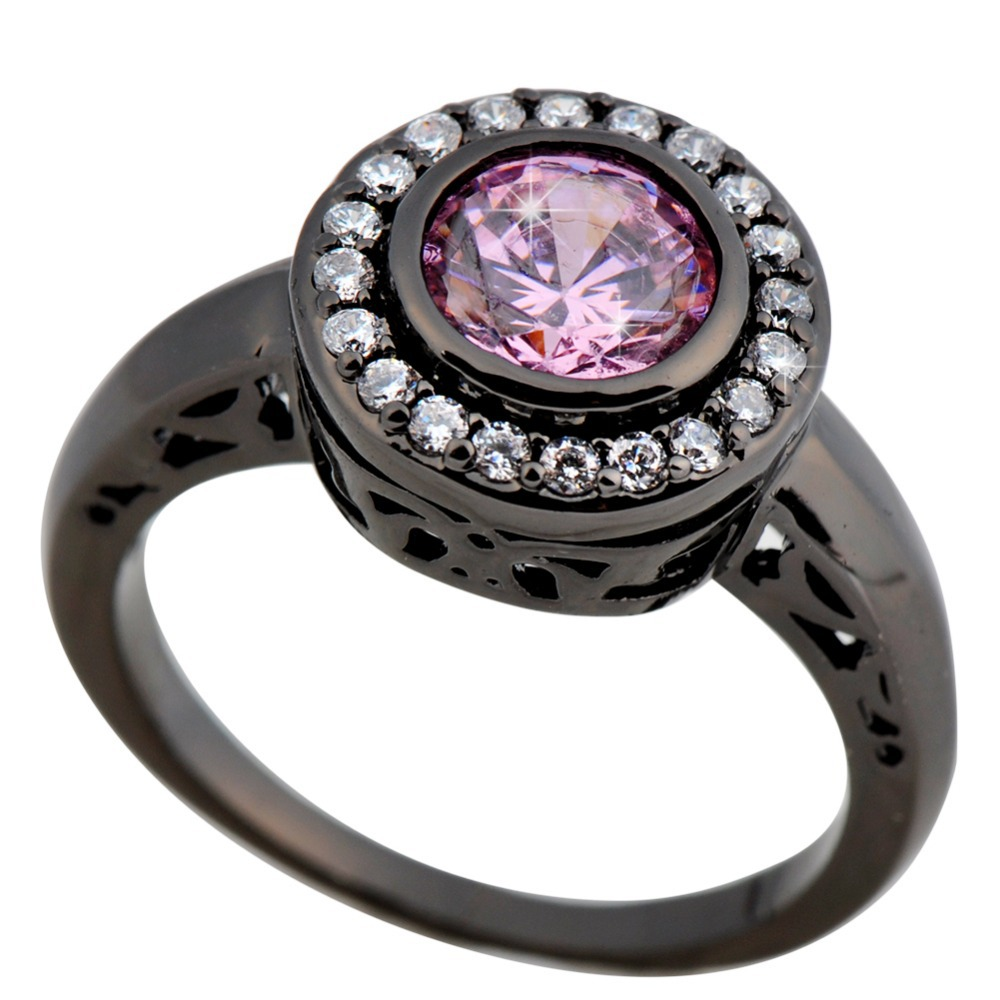 get quotations women fashion jewelry size 678910 pink sapphire 14kt - Pink And Black Wedding Rings