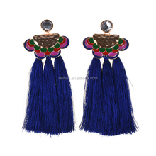 big hanging bridal tassel earrings