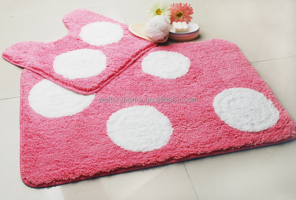 Polka Dot Pink shower curtain bath mat set ceramic bath accessories set. Polka Dot Pink Shower Curtain bath Mat Set ceramic Bath