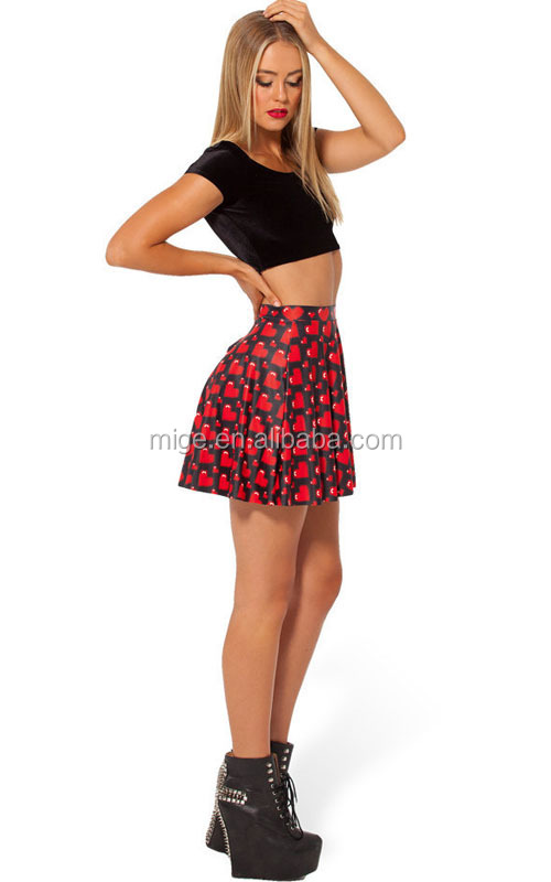 Digital Heart Printing Skirt Hot Girls Short Skirt Sexy School ...