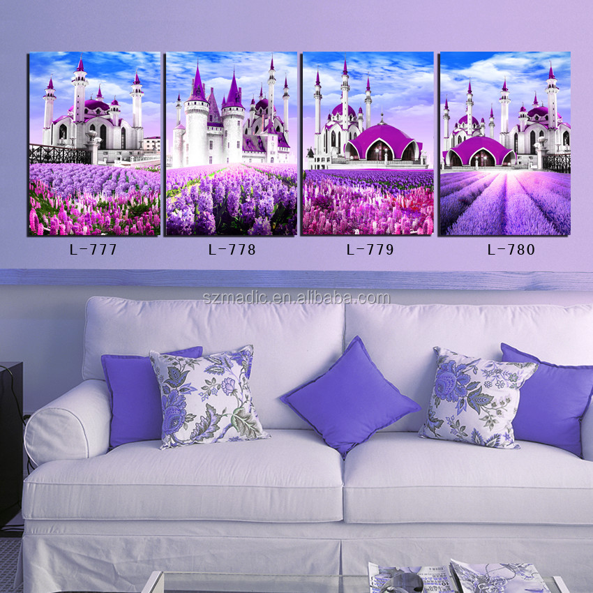 Home Goods Wall Art for Decoration 4 Panel Canvas Prints Framed Painting Art for Sale Islam Building Lavender Field Landscape